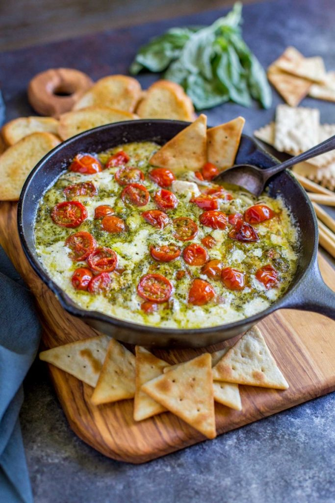 Best Queso Dip Recipe served with crostini