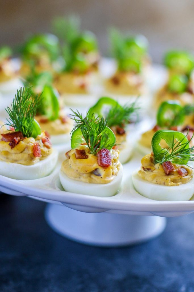 Devilled eggs on a platter