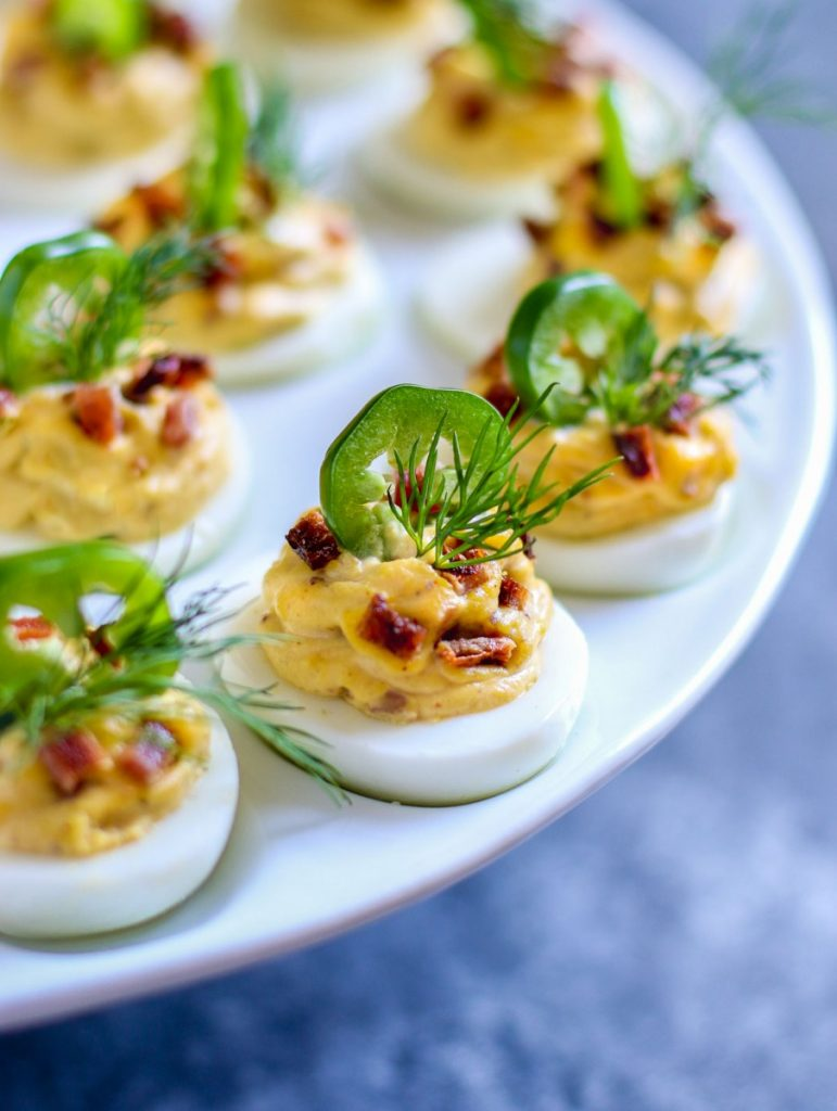 Close up look at best deviled eggs with bacon