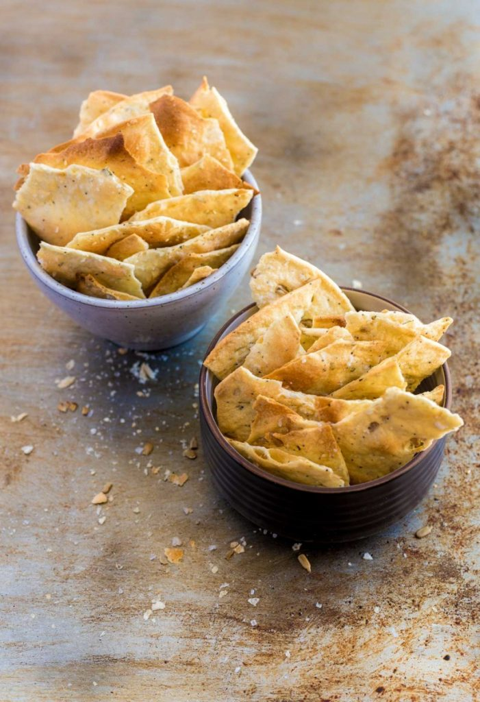 Flatbread crackers in a bowl.
