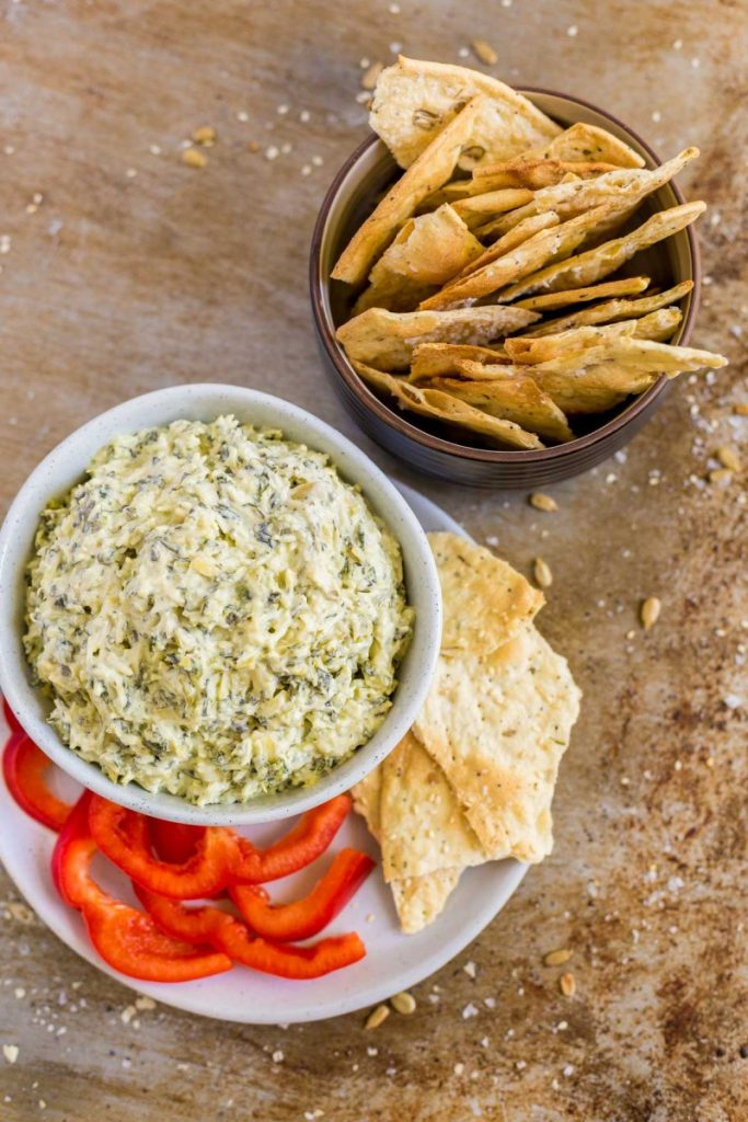 Homemade crackers and artichoke dip