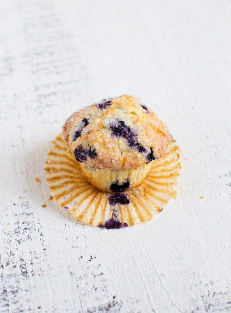 Blueberry Muffin with paper wrapper removed