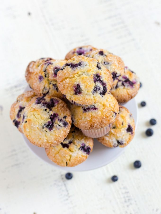 Blueberry Muffins on a cake stand