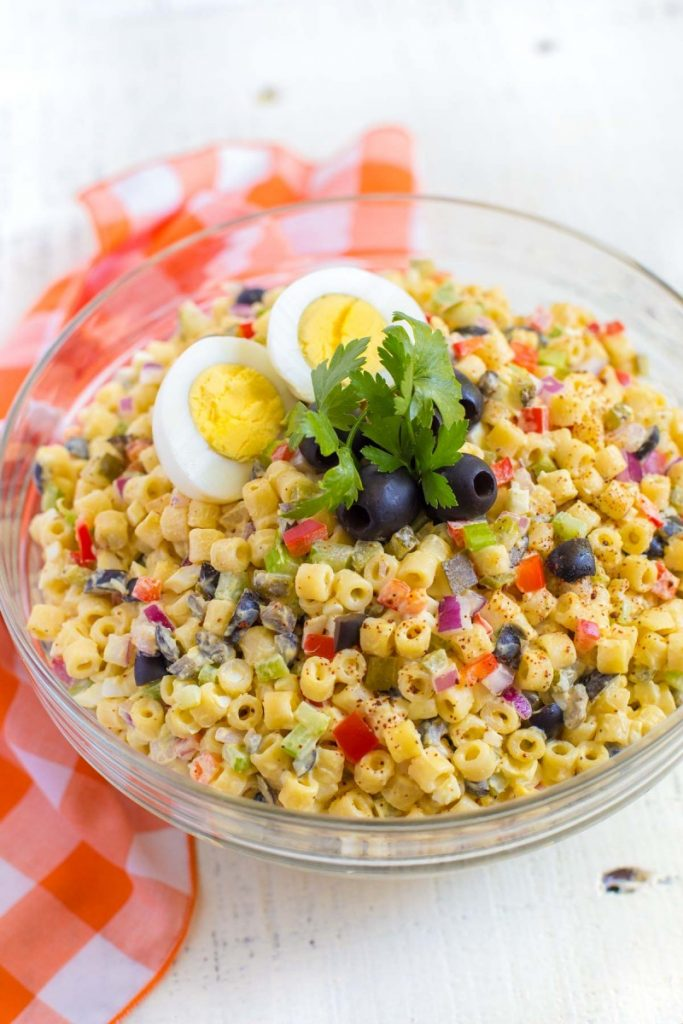 Macaroni Salad served in a bowl.
