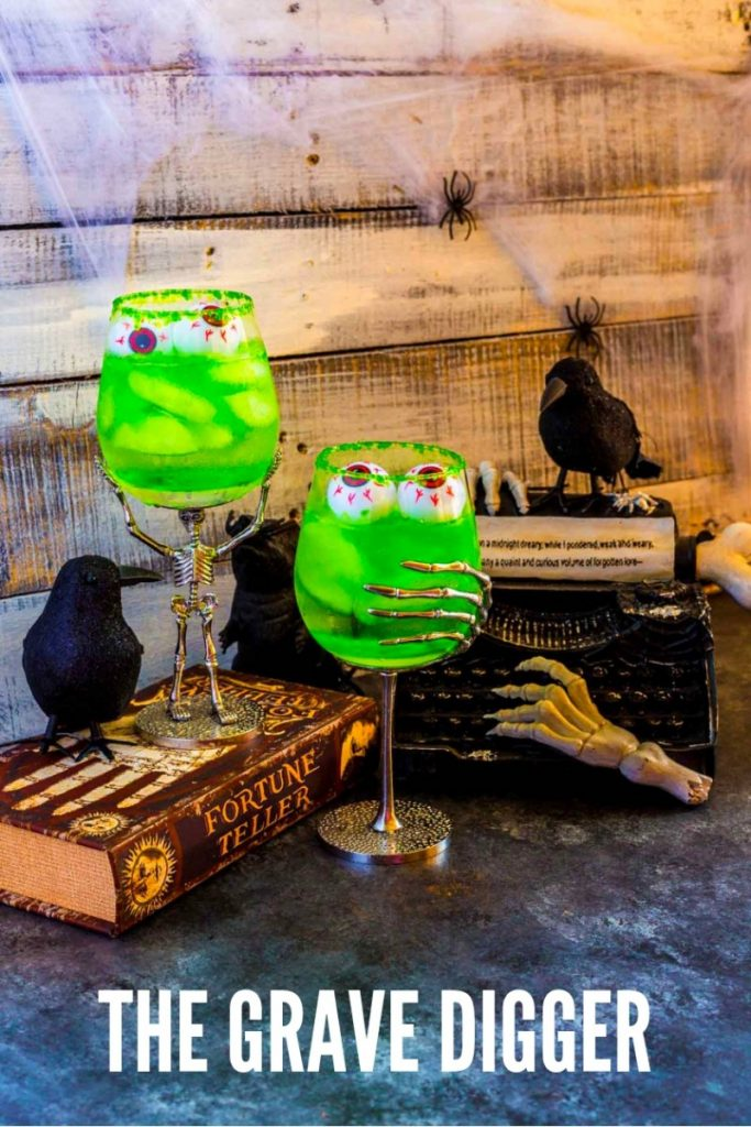 Pinterest image for Grave Digger Halloween Cocktails with Tequila.