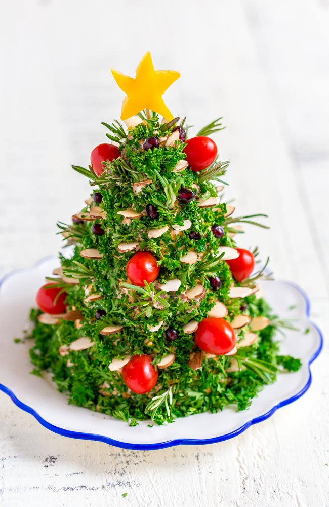 Cheese Ball decorated like a Christmas tree