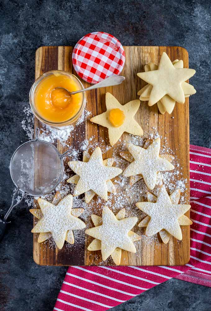 Linzer Sugar Cookies with lemon curd