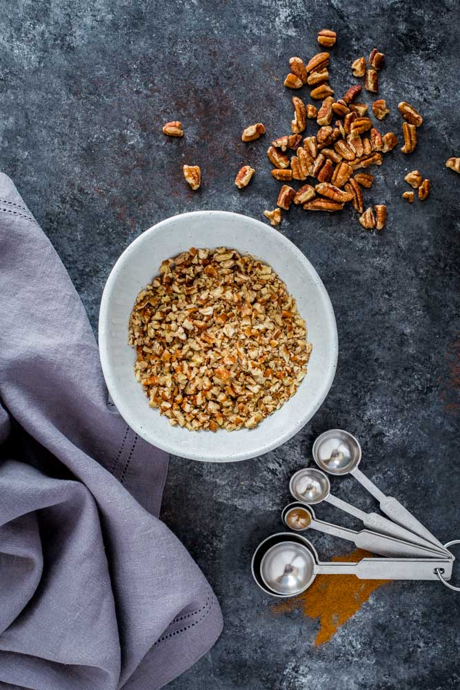 Chopped pecans for Polvorones