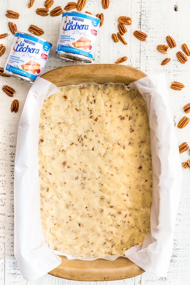 Shortbread crust for pecan bars