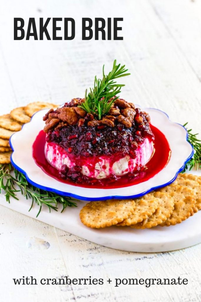 Baked Brie with cranberries and pomegranate