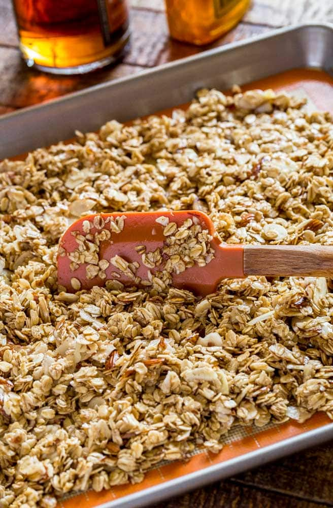 Homemade granola on a baking tray