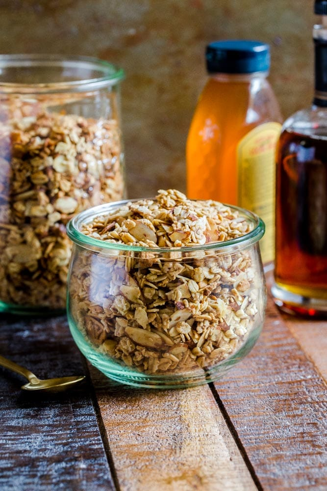 Healthy homemade granola in a glass jar.
