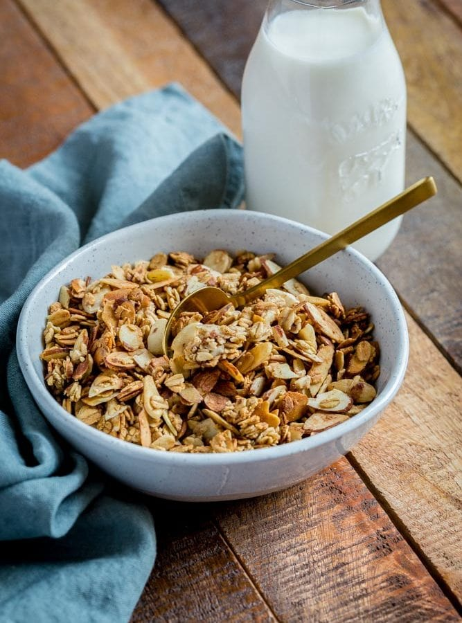 Granola in a bowl with milk.