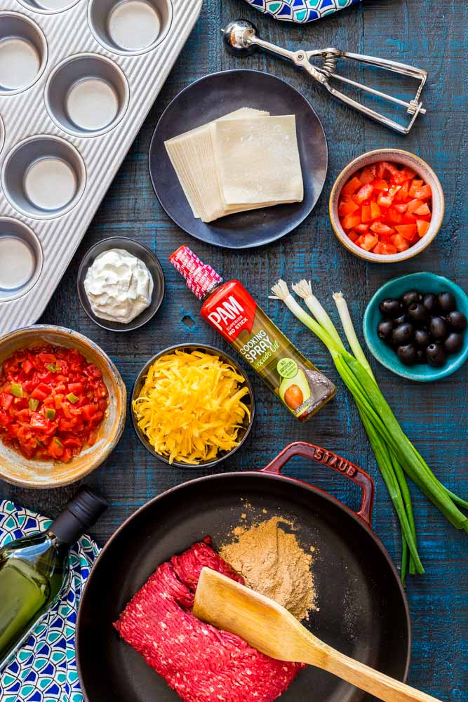 Ingredients for taco cups.