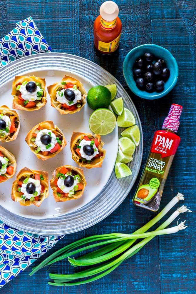 Wonton Tacos on a serving platter.