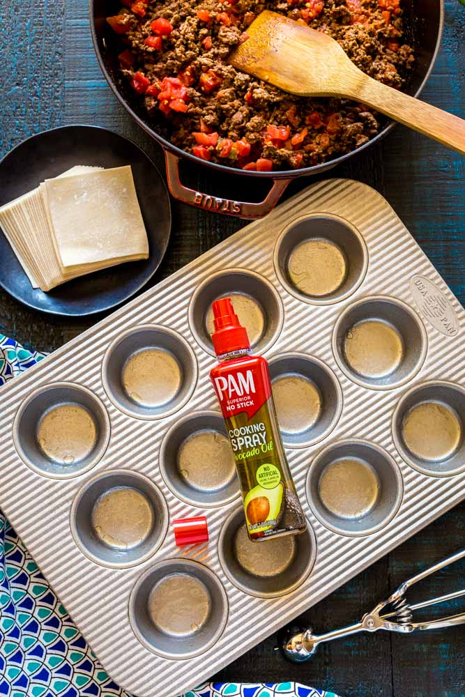 Prepared cupcake pans for wonton taco cups.