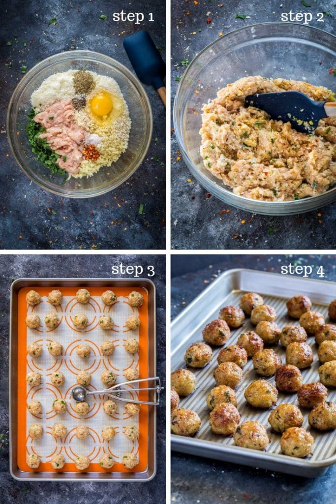 Baked meatballs recipe in 4 step-by-step images.