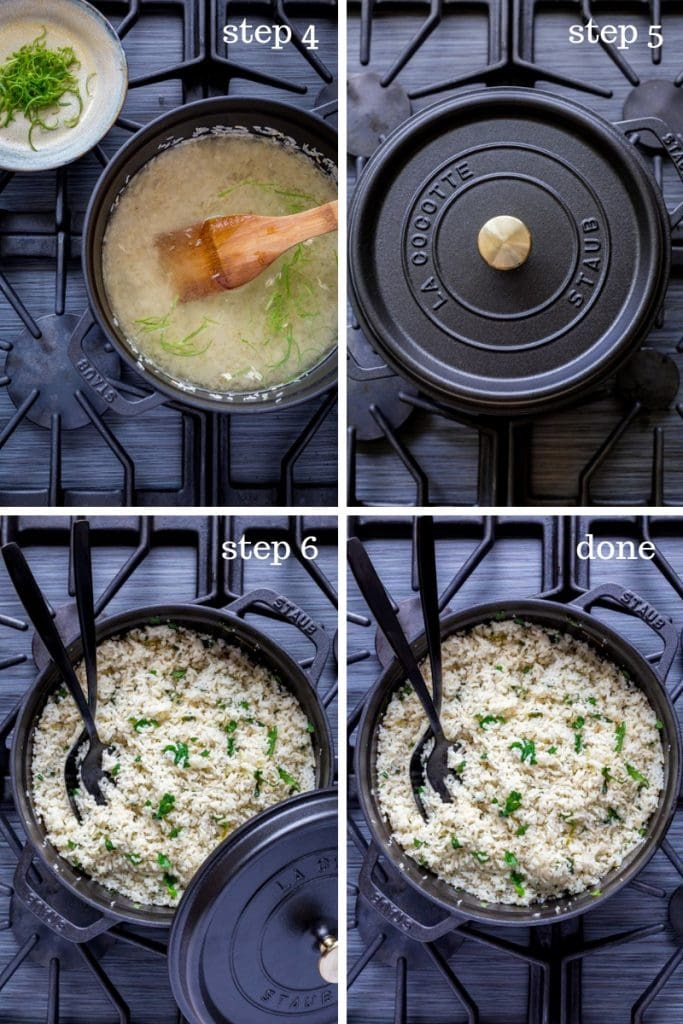 Four images showing step-by-step instructions for making cilantro lime rice.