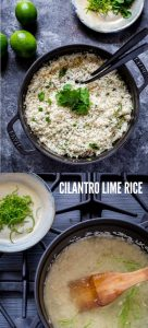 Cilantro Lime Rice in a black Staub Cocette
