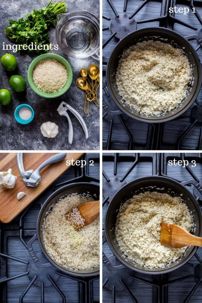 Four images showing recipe steps and instructions for making cilantro lime rice.