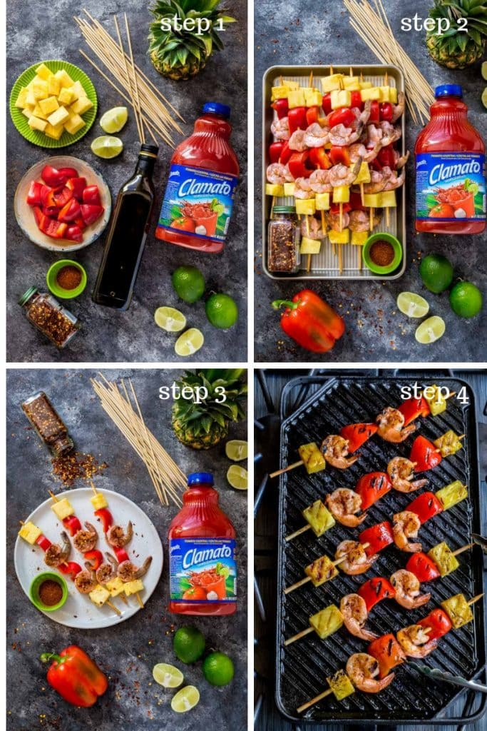Collage of four images showing recipe steps for grilled shrimp kabobs.