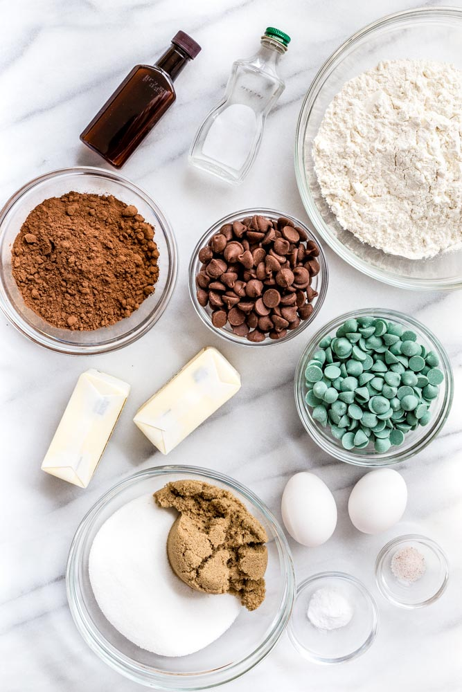 Ingredients for chocolate chip cookies.