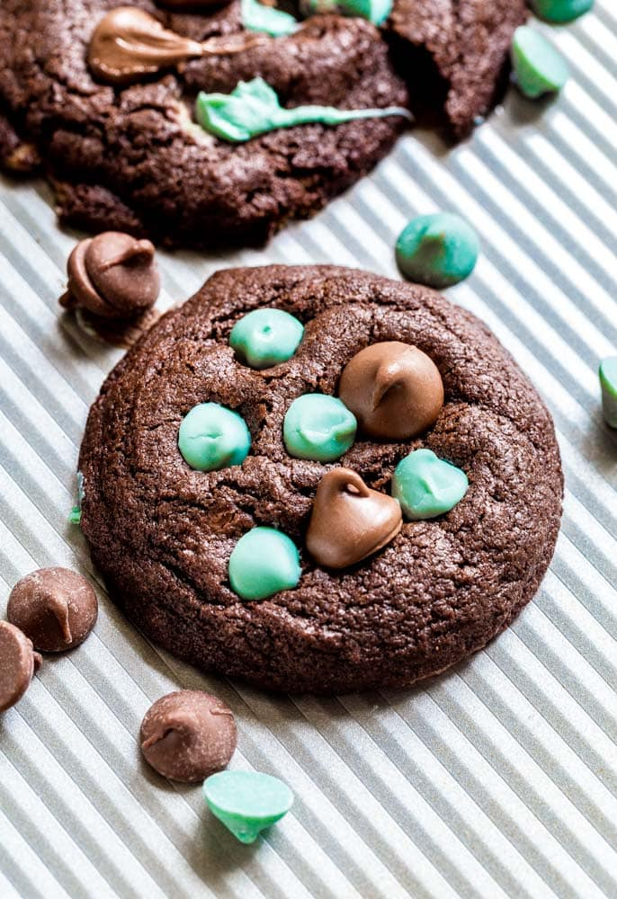 Mint chip cookies on a cookie sheet.