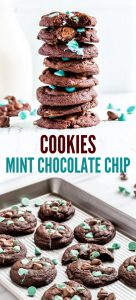 A stack of mint chocolate chip cookies.