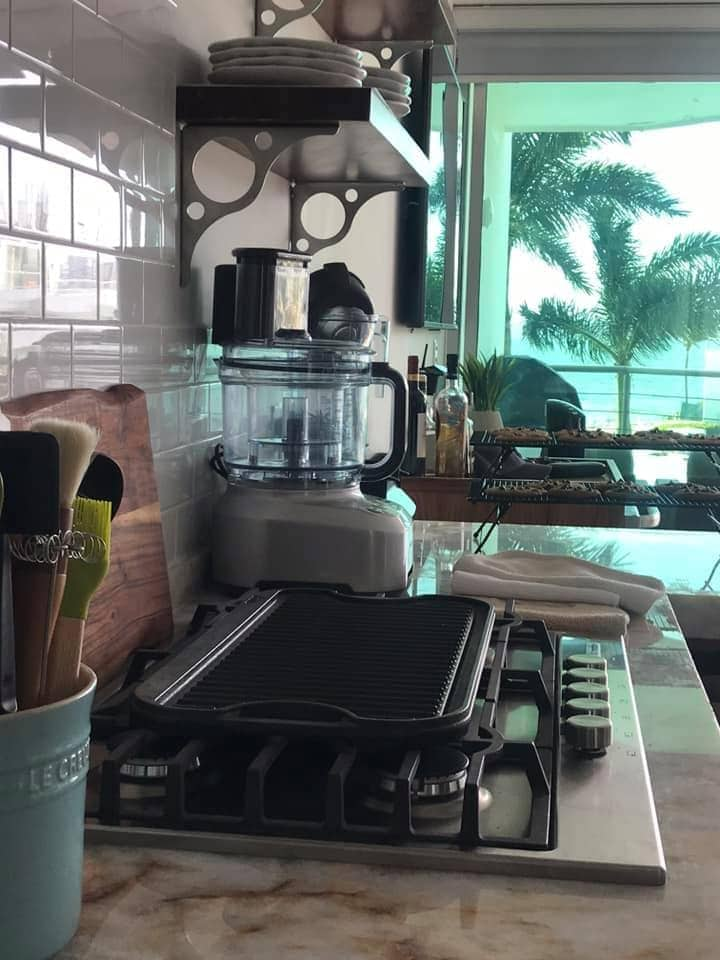 Image of kitchen stovetop and food processor with a view of palm trees outside.