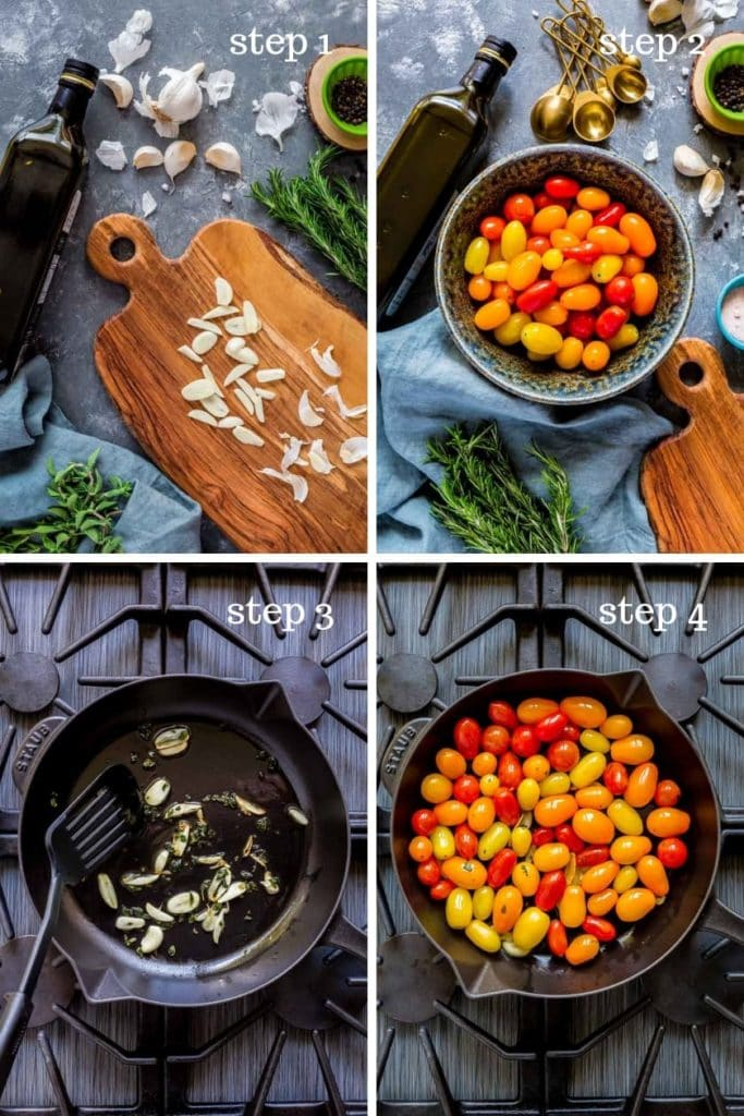 Four images showing recipe steps for roasted tomatoes recipe.