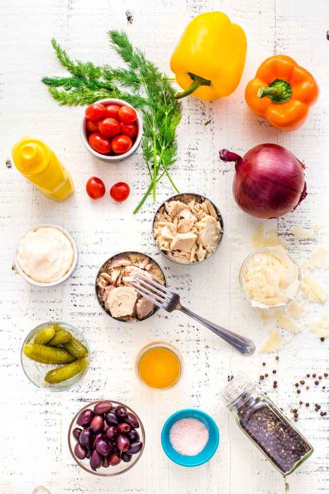 A flat lay image of healthy ingredients for tuna salad.