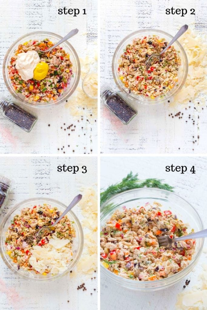 Four images showing the steps for how to make tuna salad.