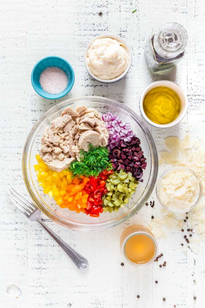 Fresh colorful ingredients for healthy tuna salad.