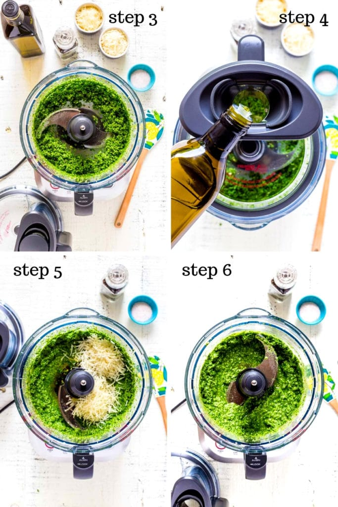 A collage of four recipe images showing how to make pesto step by step.