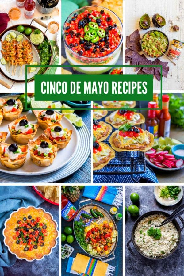 Image with 8 festive Cinco de Mayo recipes for Mexican party food.
