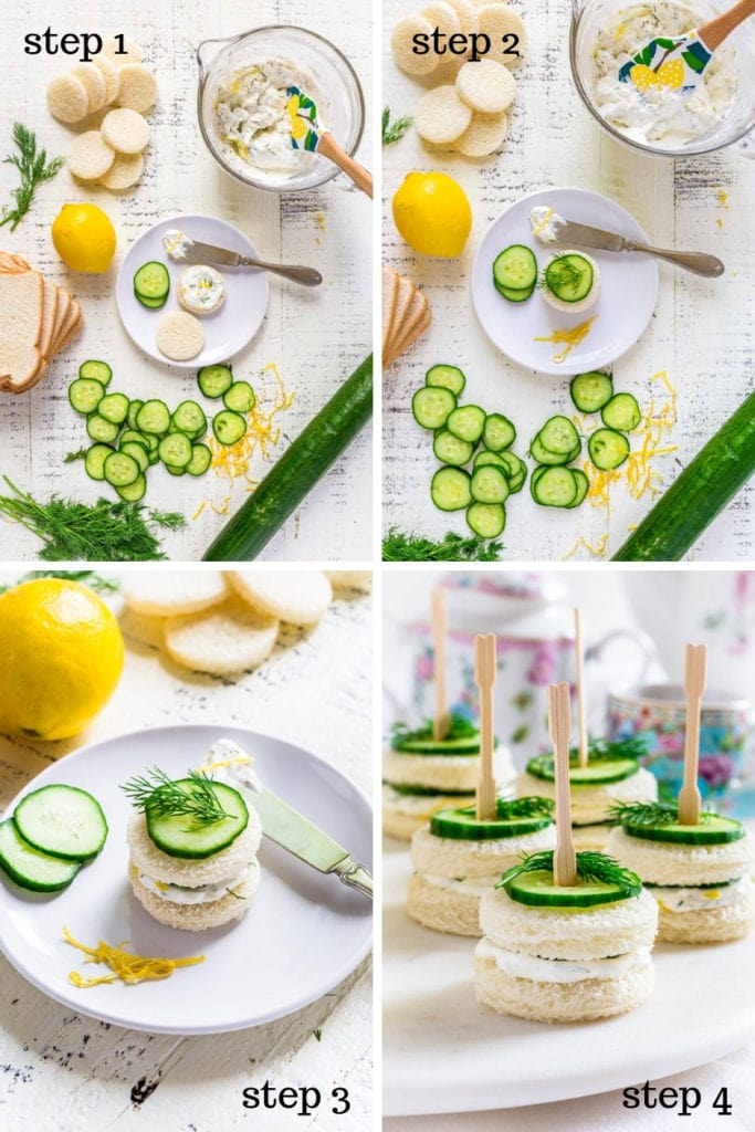 4 images showing step-by-step recipe instructions for how to make cucumber sandwiches.