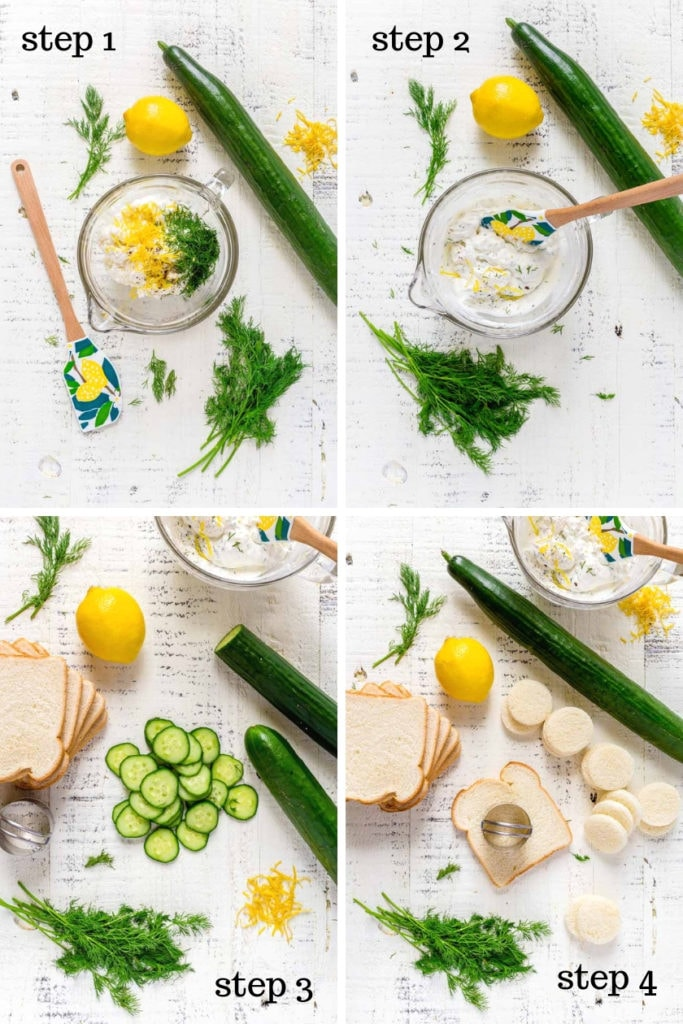 4 images showing step-by-step instructions for making cucumber sandwiches.