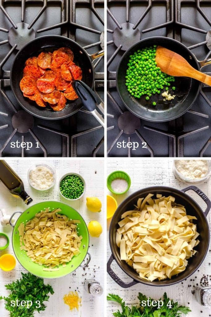 Four images showing step-by-step recipe instructions for making lemon pasta.