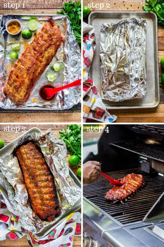 Four images showing how to BBQ ribs step by step.