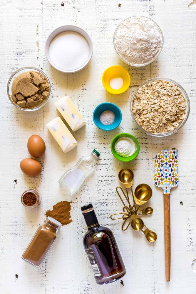 A flat lay image of ingredients for making the best oatmeal cookies.