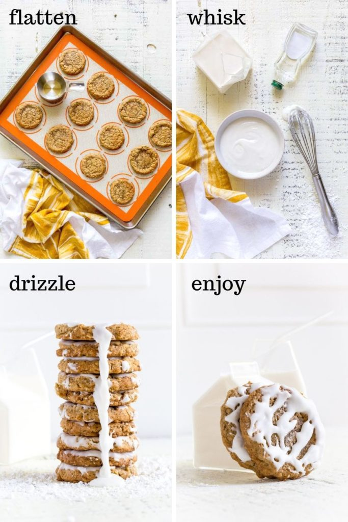 Four images showing how to make this oatmeal cookie recipe, step by step.