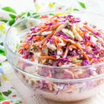 Best coleslaw recipe served in a clear glass bowl.