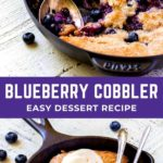 Blueberry cobbler in a cast-iron skillet with a scoop of vanilla ice cream.