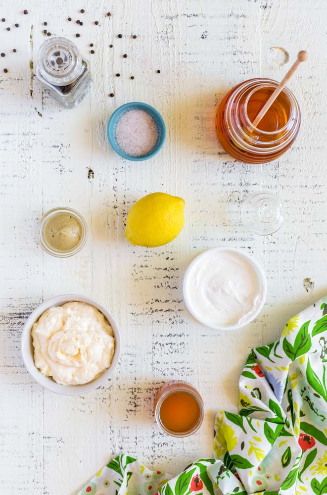 Ingredients for the best coleslaw dressing recipe.