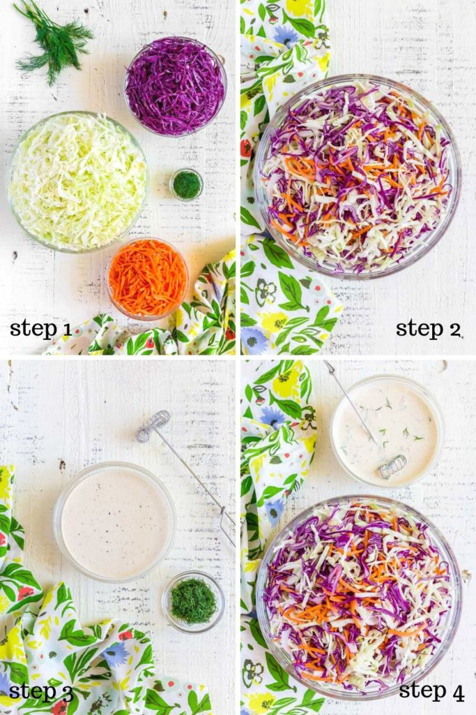 Four images showing step-by-step recipe instructions for both coleslaw and coleslaw dressing.