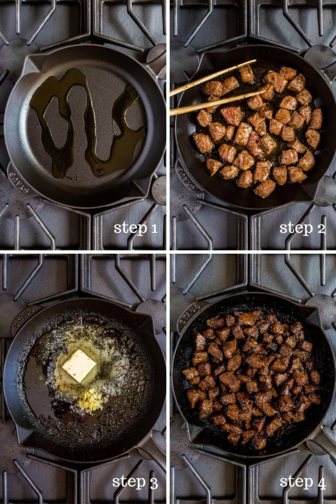 Four step-by-step images showing how to make garlic butter steak bites on the stovetop.