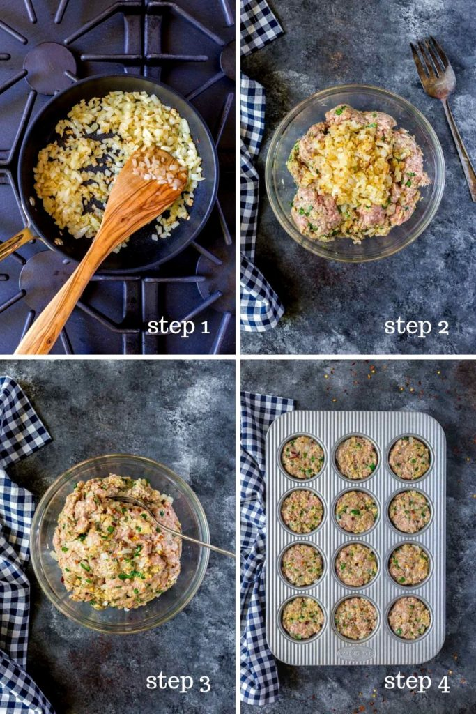 Four step-by-step images showing how to make meatloaf.