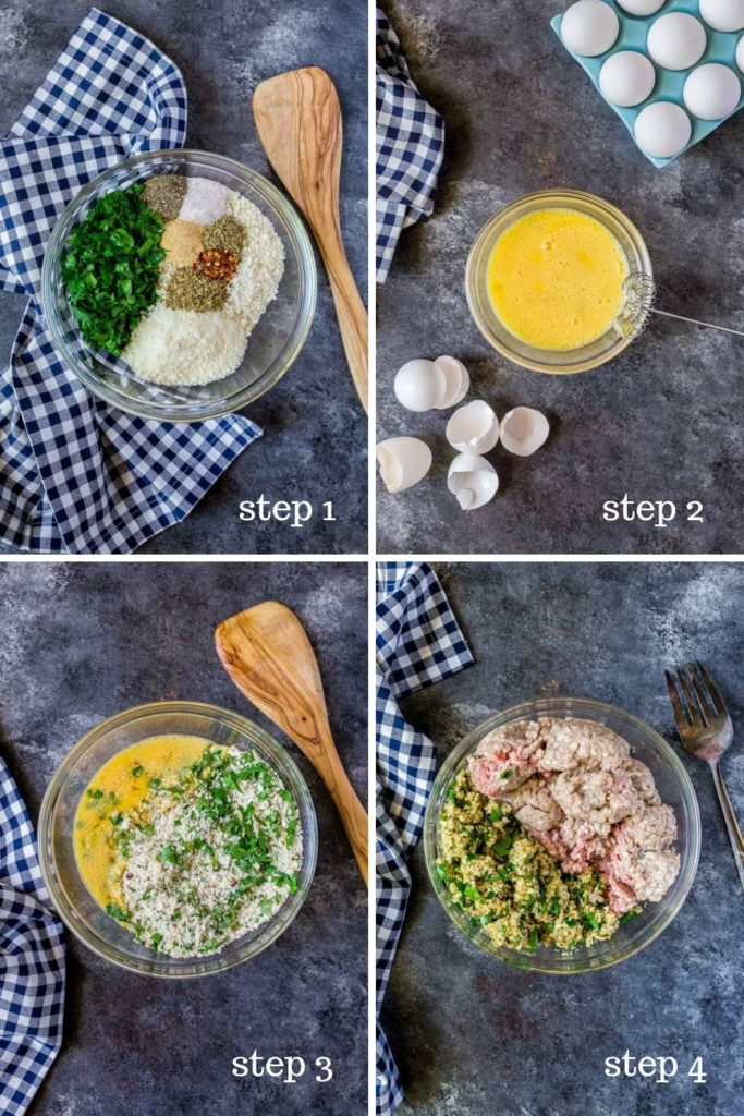 Four step-by-step images for making the best meatloaf muffins.