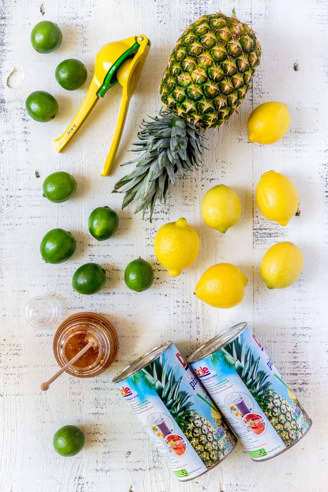 Ingredients for fruit punch recipe: make pineapple lemonade or rum punch!