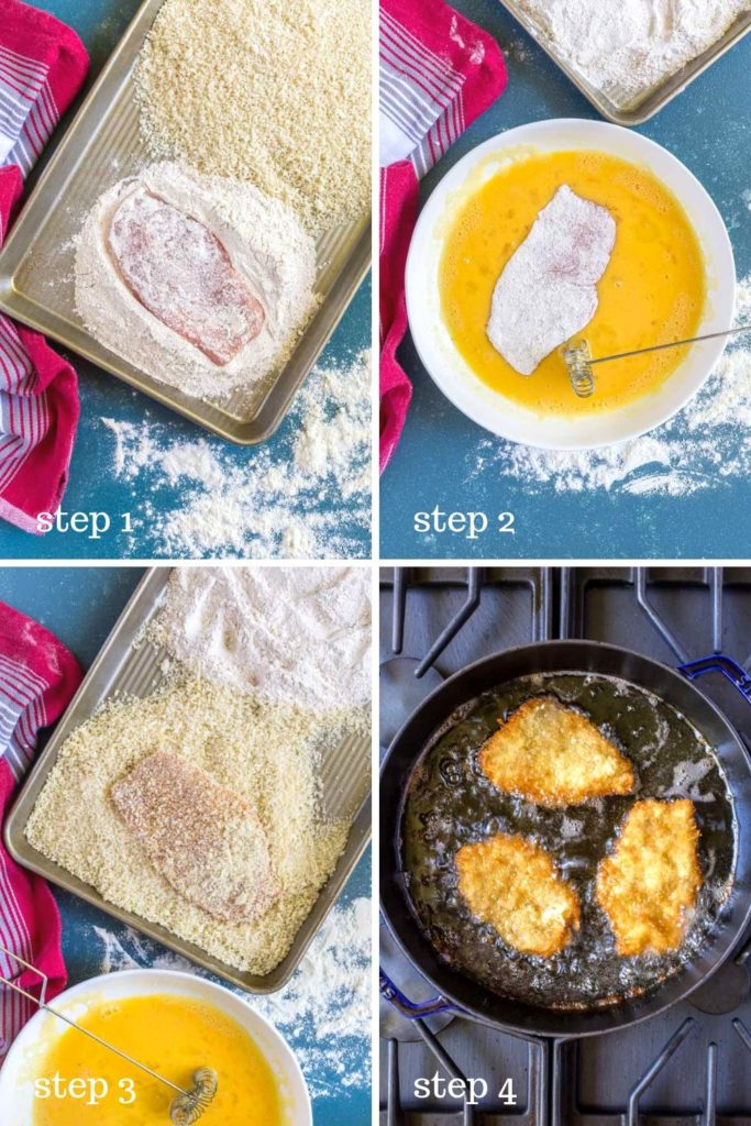 Four step-by-step recipe images for making schnitzel.